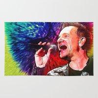 u2 Area & Throw Rugs featuring U2 / Bono 3 by JR van Kampen