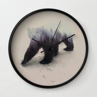 bear Wall Clocks featuring Polar Bear by Andreas Lie