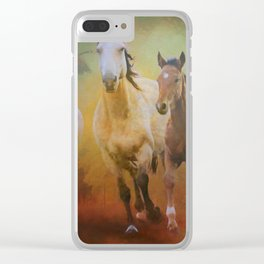 Wild Horses In The Fall Clear iPhone Case