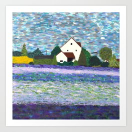 House and fields Art Print