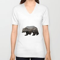 chris brown V-neck T-shirts featuring The Kodiak Brown Bear by Davies Babies