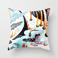 jungle Throw Pillows featuring Jungle by Adelina Mehmeti