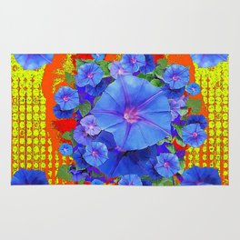 BLUE MORNING GLORIES YELLOW-ORANGE  PATTERN Rug