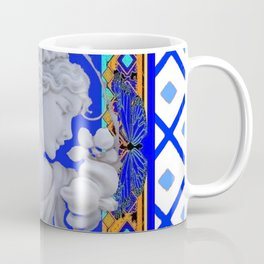 Blue Vintage Girls Cameo Portrait art Coffee Mug