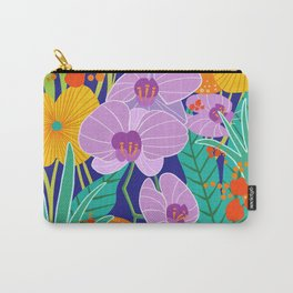 Orchid Fantasy Illustration, Tropical Colourful Orchids Carry-All Pouch