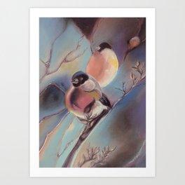 Winter birds, pastel Art Print