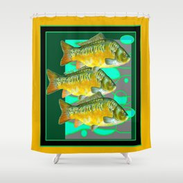 MODERN ART GREEN & OCHER DECORATIVE THREE FISH Shower Curtain