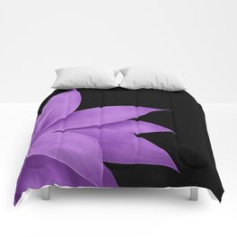 Agave Finesse #10 - Purple on Black #tropical #decor #art #society6 Comforters