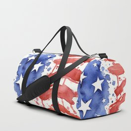 American Flag Watercolor Abstract Stars and Stripes Duffle Bag