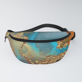 Abstract Blue And Gold Autumn Marble Fanny Pack