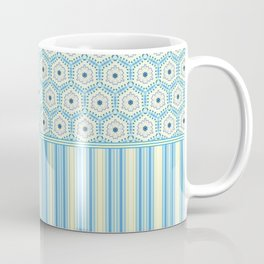 Summer Blues and Yellow Multi Pattern Design Coffee Mug