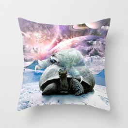 Cute Sloth Riding Turtle In Galaxy Space Throw Pillow