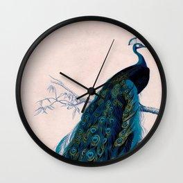 Vintage peacock bird print colorful feathers 1800s antique art nouveau deco nature book plate Wall Clock