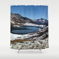 the mountains are calling Shower Curtains featuring Mountains are calling by Adeela Abdul Razak