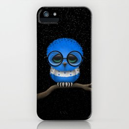 Baby Owl with Glasses and Honduras Flag iPhone Case