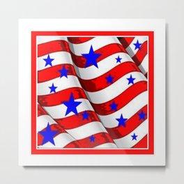 RED PATRIOTIC JULY 4TH BLUE STARS AMERICANA ART Metal Print