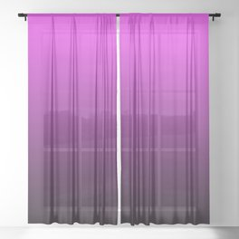 Deep Pink to Black Gradient Sheer Curtain