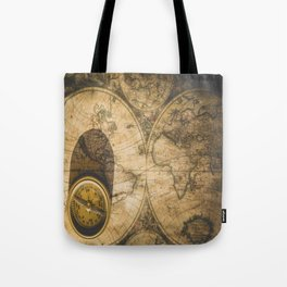 old nautical map with compass Tote Bag