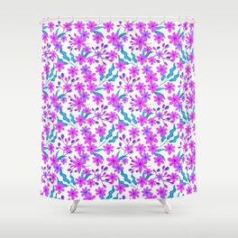 Beautiful girly pretty pink flowers, delicate green leaves, little branches pink floral pattern Shower Curtain
