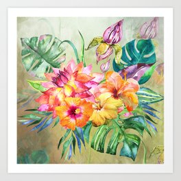 Tropical Hibiscus Garden Art Print