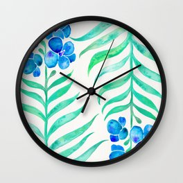 Blooming Orchid – Mint & Blue Palette Wall Clock