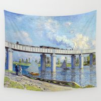 monet Wall Tapestries featuring Claude Monet - Bridge by Elegant Chaos Gallery