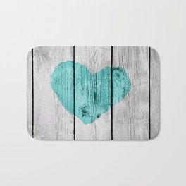 Teal Rustic Heart on Country Wood Bath Mat