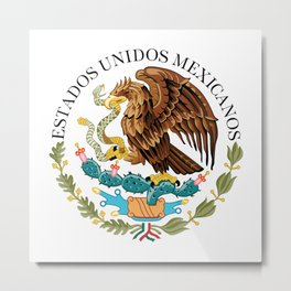 Coat of Arms & Seal  of Mexico on white  Metal Print