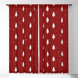 Cristmas Trees Pattern Red And White Blackout Curtain