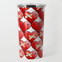 broken heart pattern white Travel Mug
