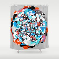 arya Shower Curtains featuring Lines and Curves, twisting into each other by Hinal Arya