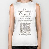 hamlet Biker Tanks featuring Shakespeare, Hamlet 1603 by BiblioTee