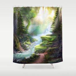 Magical Forest Stream Shower Curtain