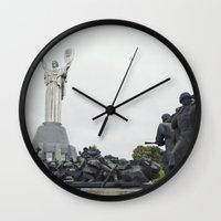ukraine Wall Clocks featuring Kiev, Ukraine, Motherland Statue by Love Crosses Oceans Smith Family