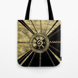 Hunab Ku Mayan symbol Black & Gold Tote Bag