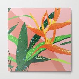 Aphrodisiac Dreams - Tropical Bird of Paradise Illustration Metal Print