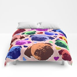 Pug Puppy Dog Love Hearts Pattern Comforters