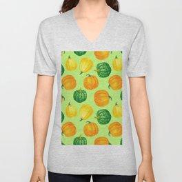 Pumpkins watercolor pattern Unisex V-Neck