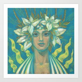 May Queen, Girl in Lily Flower Crown, Surreal Fantasy Portrait Art Print