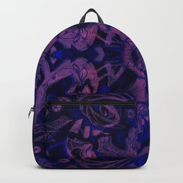 Curves & lotuses, abstract pattern, ultra-violet Backpack