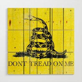 Gadsden Flag On Old Wood Planks - Don't Tread on Me Wood Wall Art