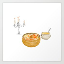 Watercolor Illustration of a Cuisine - Thick Soups and Stews Art Print