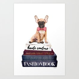 French bull dog with fashion books watercolor Art Print