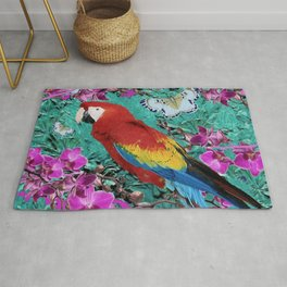 TROPICAL ORCHIDS RED MACAW PARROT JUNGLE ART Rug
