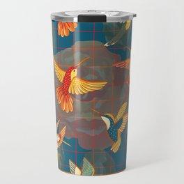 Hummingbirds in Orange Travel Mug