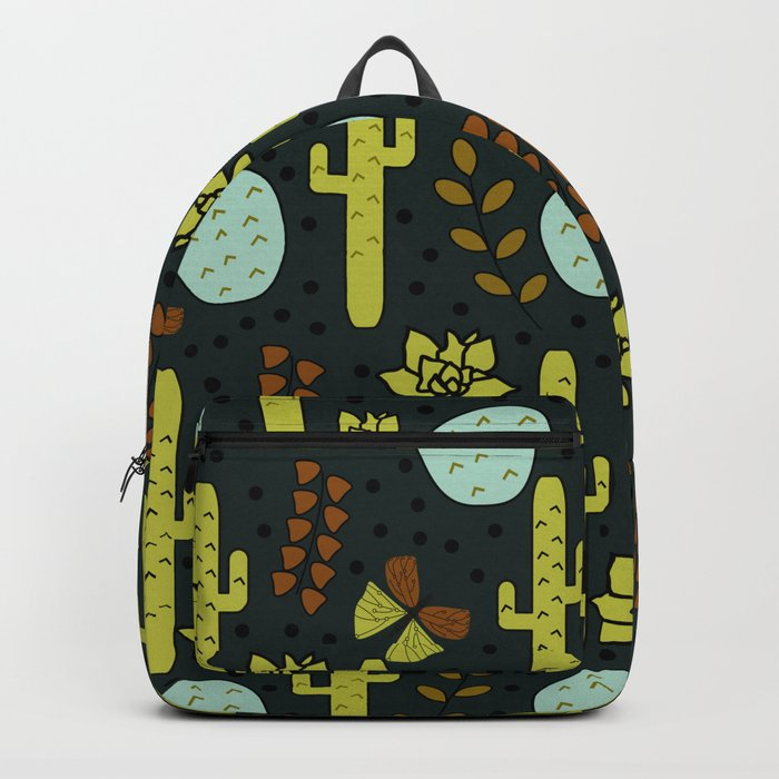 Cacti and butterflies at night Backpack