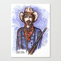 tom selleck Canvas Prints featuring Quigley Down Under, Tom Selleck Drawing by Douglas Mooney