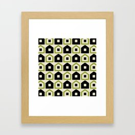 Mid Century Modern House Dot Pattern 971 Black and Green Framed Art Print