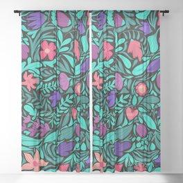 Spring Black Flowers Leaves Illustration Pattern Sheer Curtain