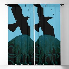 Sacred Gothic Text Gravestone With Crows and Ravens Blackout Curtain